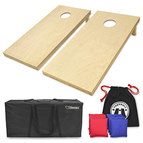 GoSports Solid Wood Premium Cornhole Set - Choose Between 4'x2' or 3'x2' Game Boards, Includes Set of 8 Corn Hole Toss Bags, Regulation Size (4ft x 2ft)