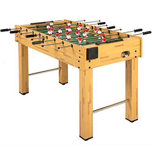 Best Choice Products 48in Competition Sized Wooden Soccer Foosball Table w/ 2 Balls, 2 Cup Holders for Home, Game Room, Arcade - Natural